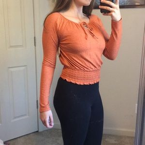 Orange long sleeve blouse